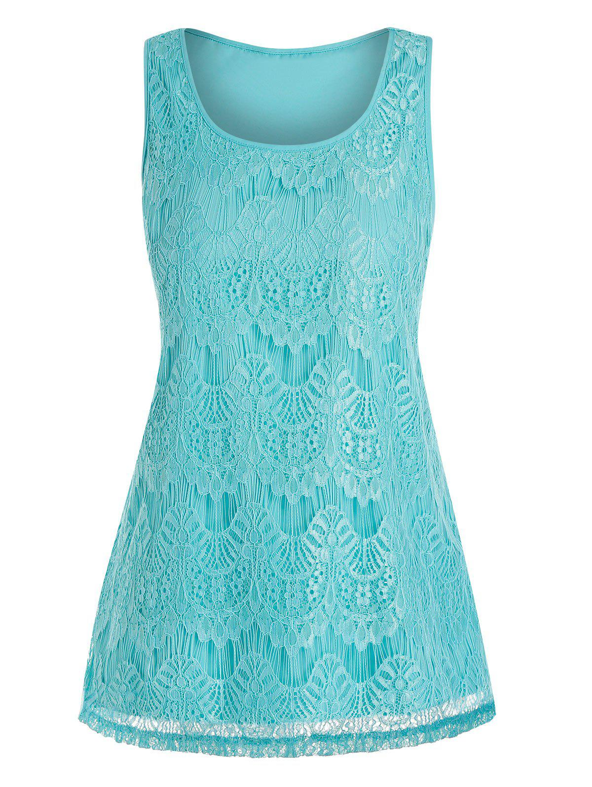 Lace Overlay Plus Size Tank Top - MACAW BLUE GREEN 5X