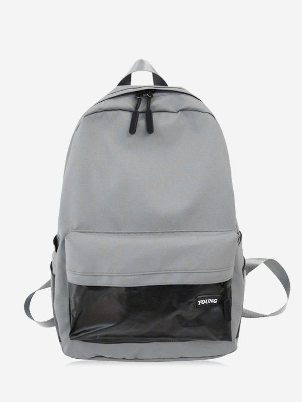 Brief Large Capacity School Travel Backpack - LIGHT GRAY