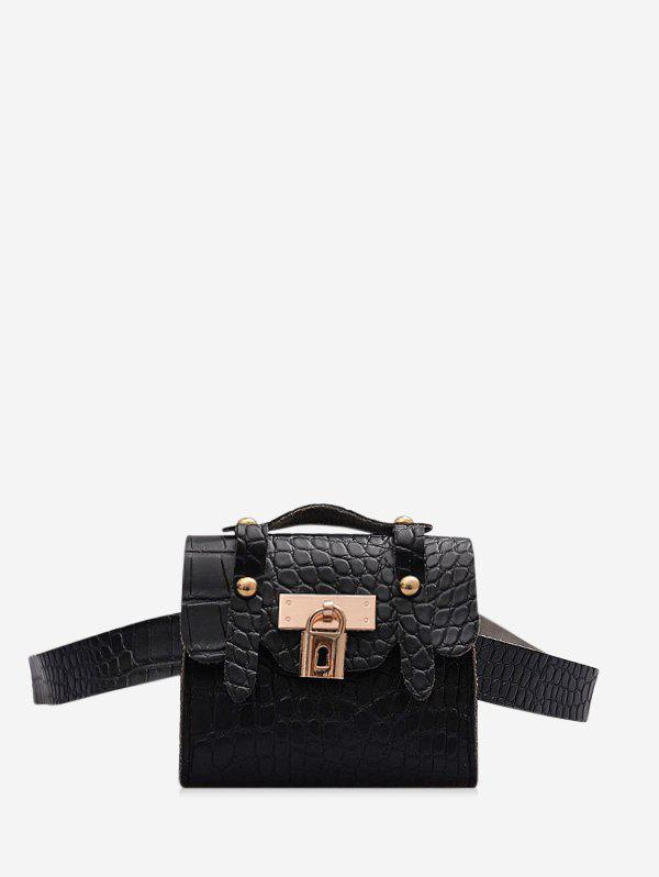 Textured Lock Pendant Mini Crossbody Bag - BLACK