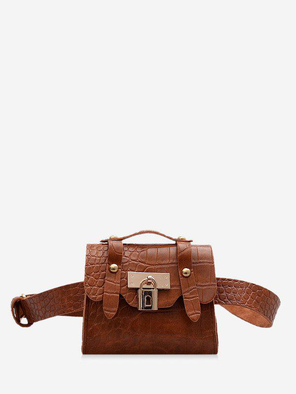 Textured Lock Pendant Mini Crossbody Bag - COFFEE