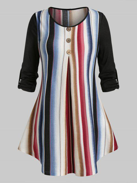 Plus Size Knit Striped Roll Up Sleeve Tunic Tee