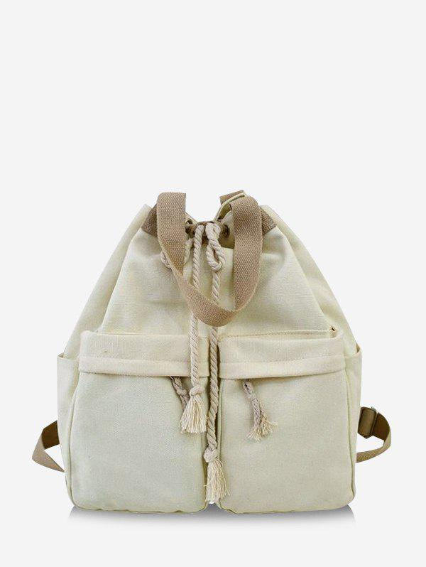 Multi-pocket Canvas Drawstring Backpack - WHITE