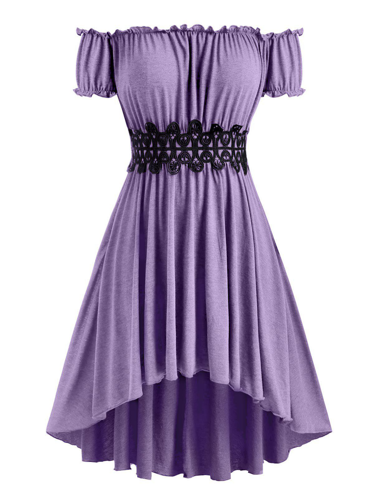 Plus Size Off The Shoulder High Low Midi Dress - PURPLE 4X