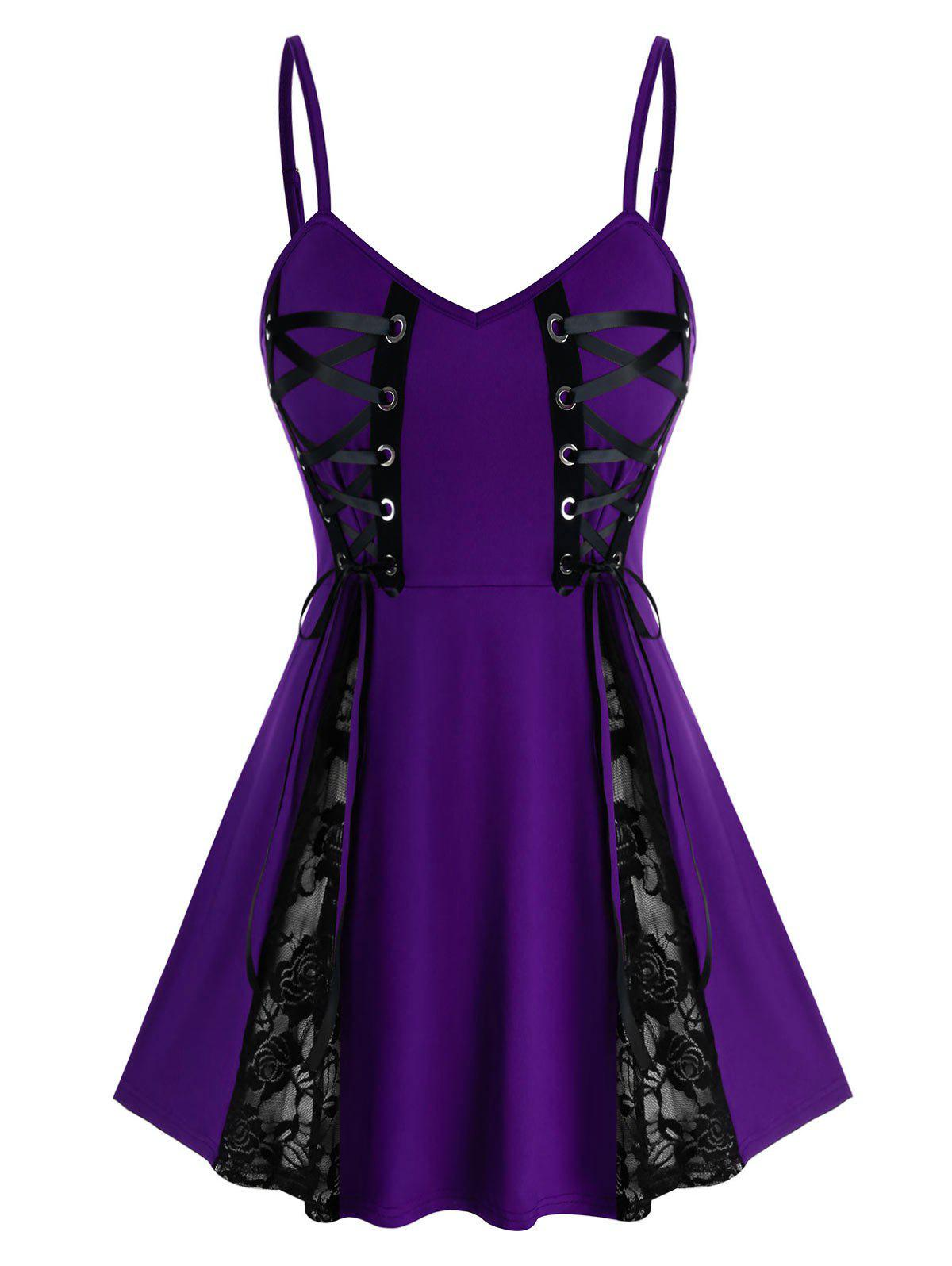 Plus Size Lace Insert Babydoll Set - DARK ORCHID 3X