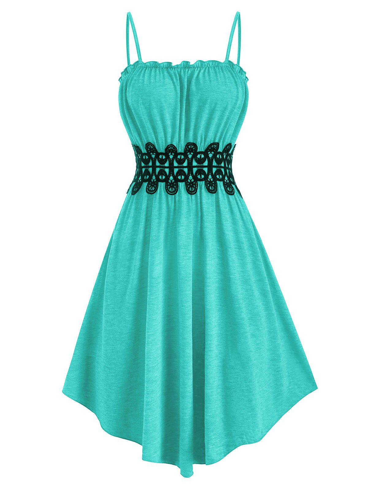 Frilled Lace Applique Cami Dress - BLUE 2XL