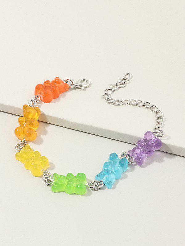 Colored Resin Bear Candy Shape Bracelet - multicolor A