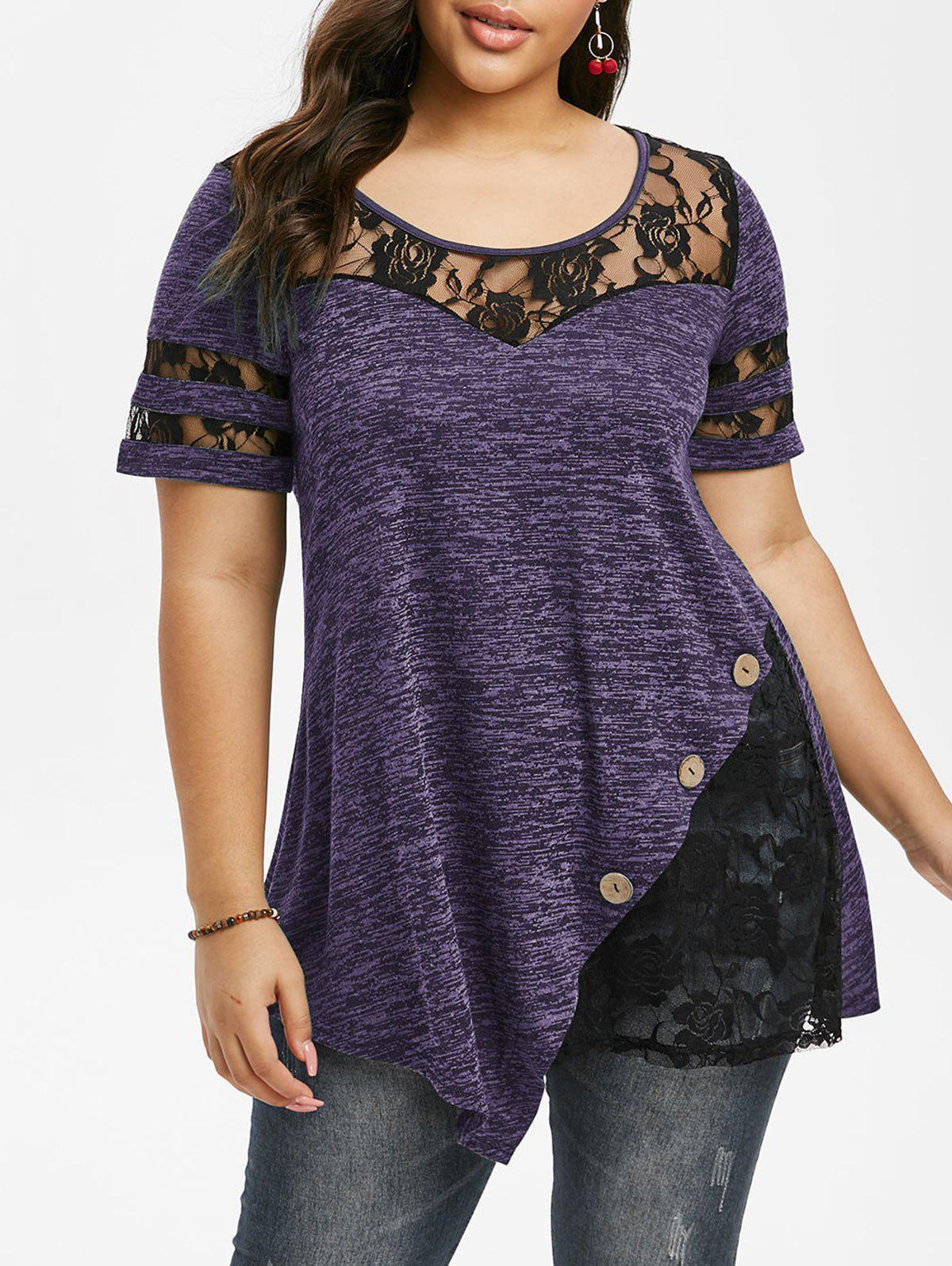 Plus Size Lace Insert Space Dye T Shirt - PURPLE IRIS 1X