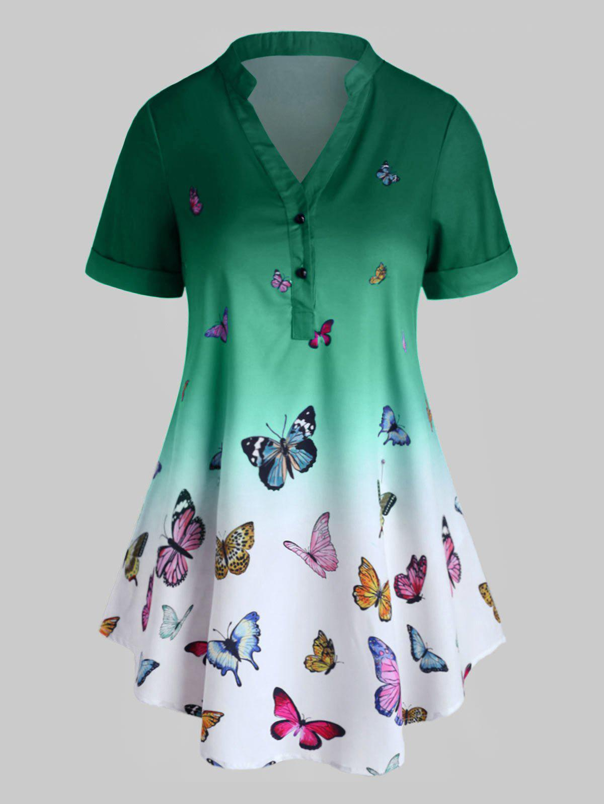 Plus Size Butterfly Print Ombre Rolled Cuff Henley Blouse - GREEN L
