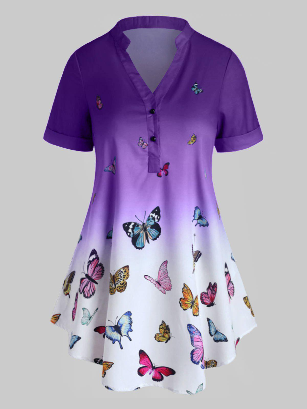 Plus Size Butterfly Print Ombre Rolled Cuff Henley Blouse - PURPLE L