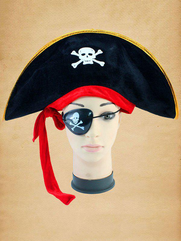 Halloween Cosplay Skull Bone Pirate Hat - multicolor