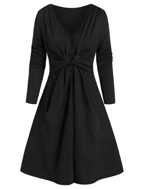 Twisted Front Long Sleeve Ribbed Dress