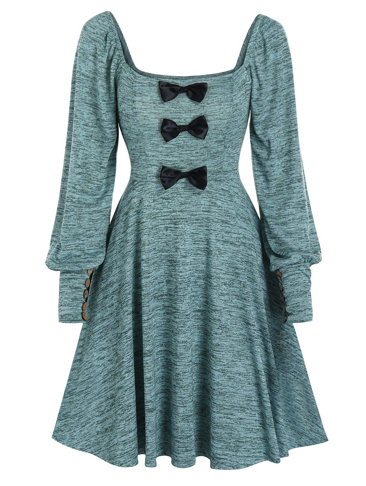 Square Collar Bow Puff Sleeve A Line Knitted Dress - PEACOCK BLUE XL