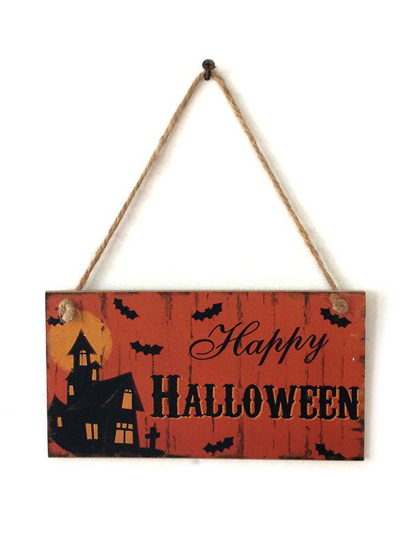 Halloween Haunted House Pattern Wood Hanging Decor - multicolor