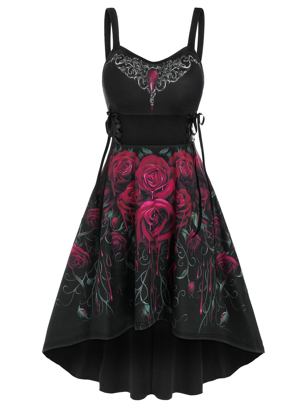 Sleeveless Flower Print Lace-up High Low Gothic Dress - BLACK S