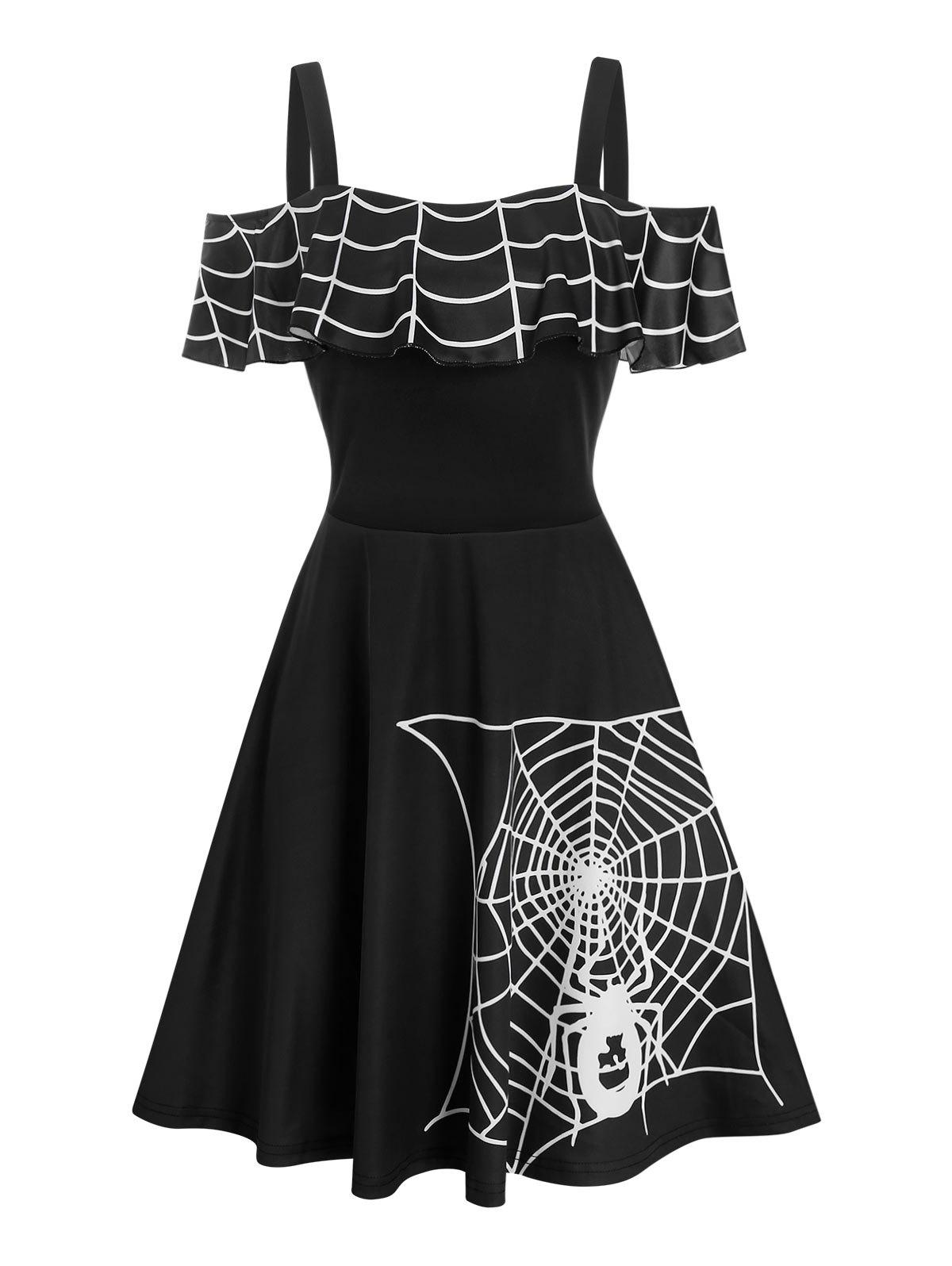 Halloween Spider Web Print Cold Shoulder Skater Dress - BLACK 3XL