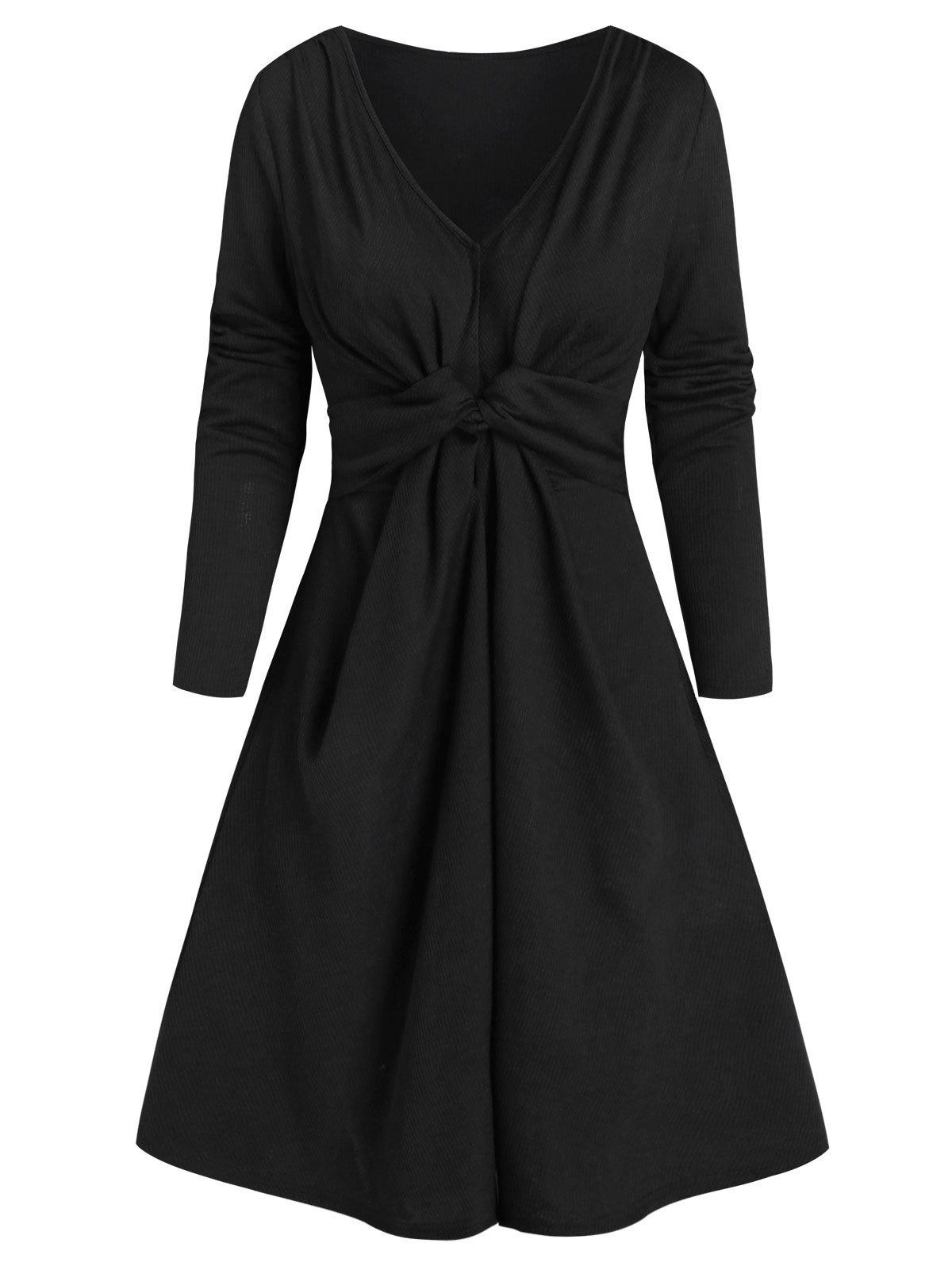 Twisted Front Long Sleeve Ribbed Dress - BLACK 2XL