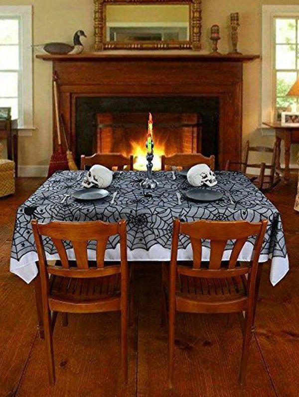 Halloween Spider Web Star Lace Table Cloth - BLACK 183X137CM