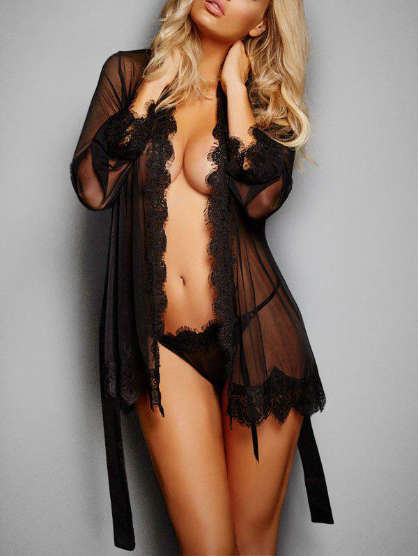 Belted Eyelash Lace Trim Sheer Mesh Lingerie Robe - BLACK ONE SIZE