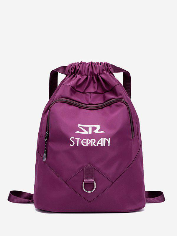 Outdoor Letter Print Folded Drawstring Backpack - CONCORD