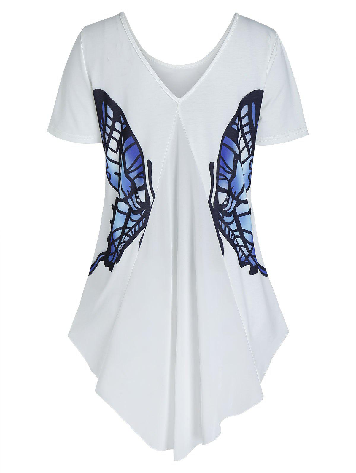 Back V Neck Butterfly Graphic High Low T Shirt - WHITE 3XL
