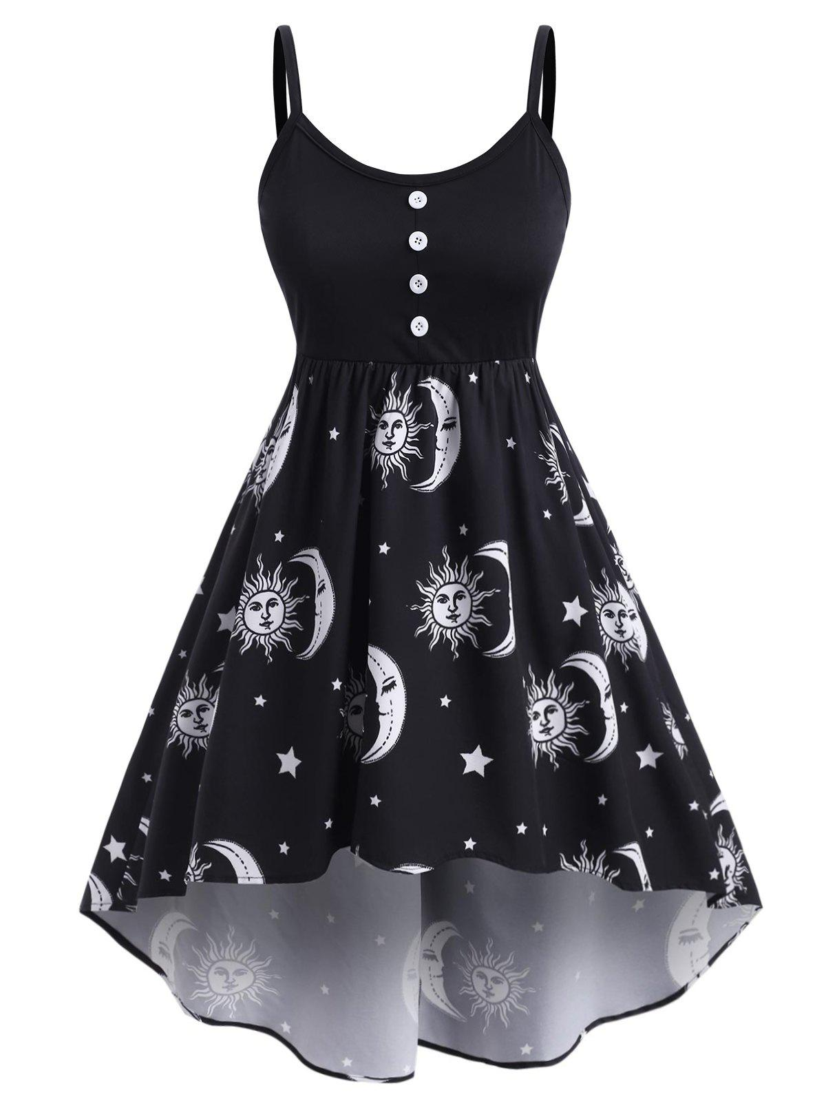 Plus Size Sun Moon Print High Low Dress - BLACK 3X