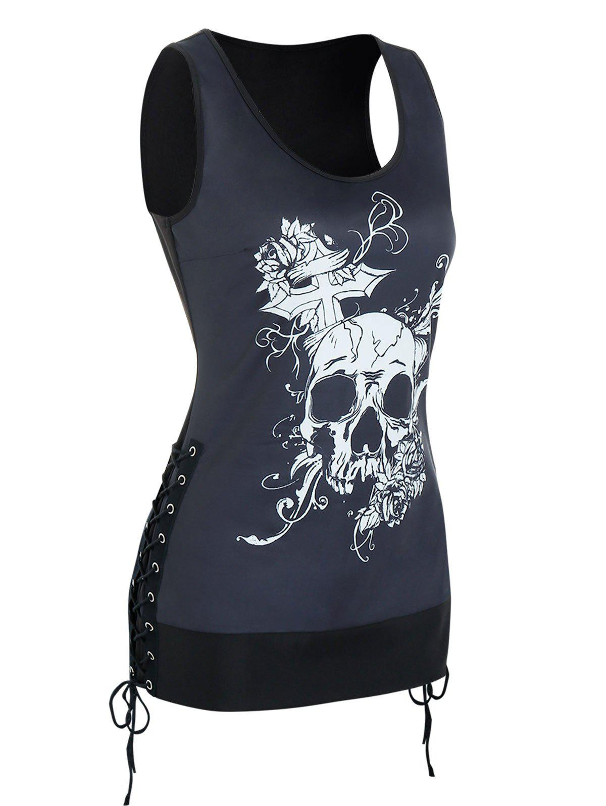 Skull Graphic Side Lace Up Gothic Tank Top - BLACK 3XL