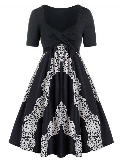 Plus Size Twist Printed Sweetheart Neck Casual Dress