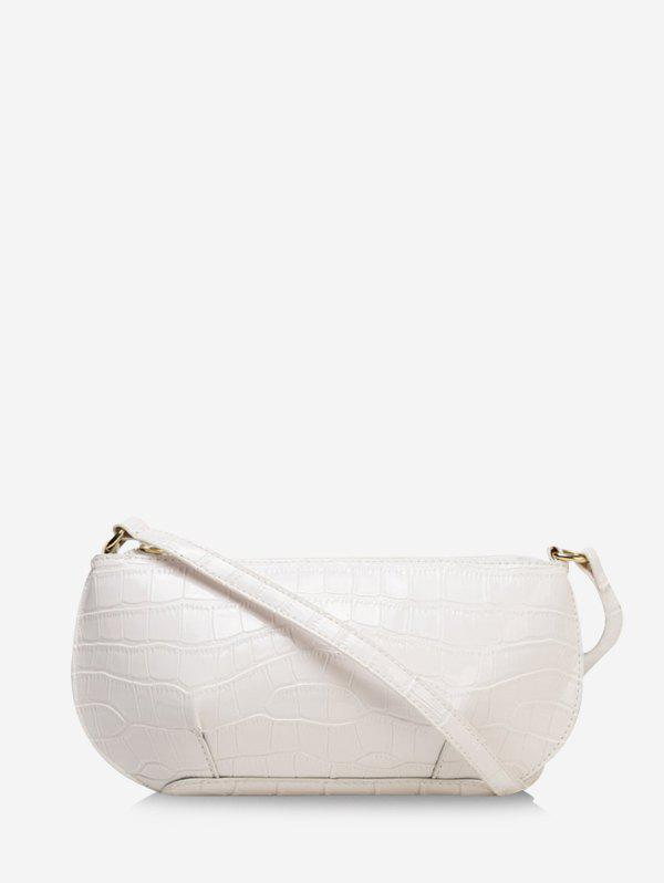 Retro Textured Small Shoulder Bag - WHITE
