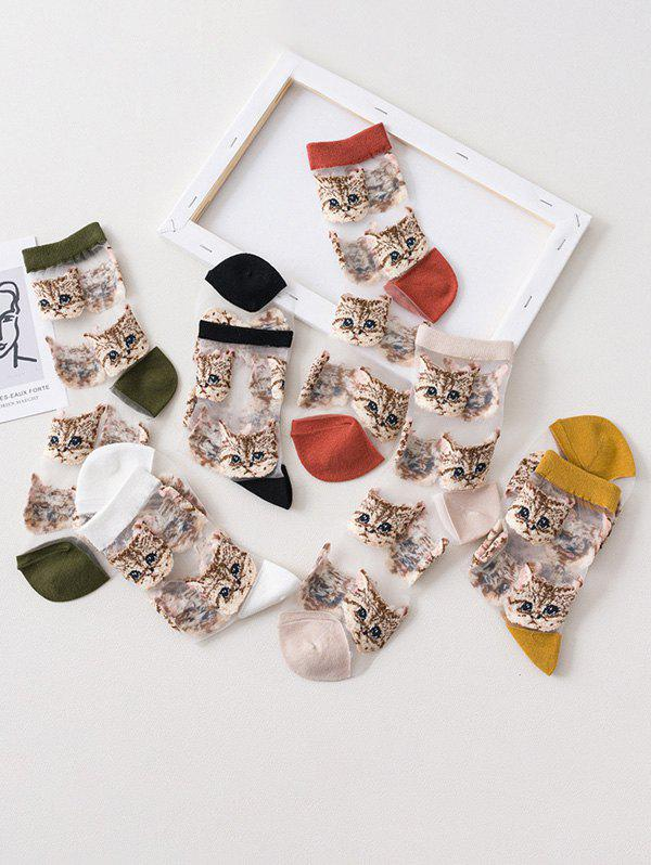 6Pairs Cat Pattern Transparent Mesh Socks Set - multicolor