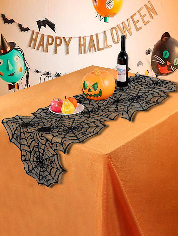 Halloween Spider Web Lace Table Runner - BLACK 183X46CM