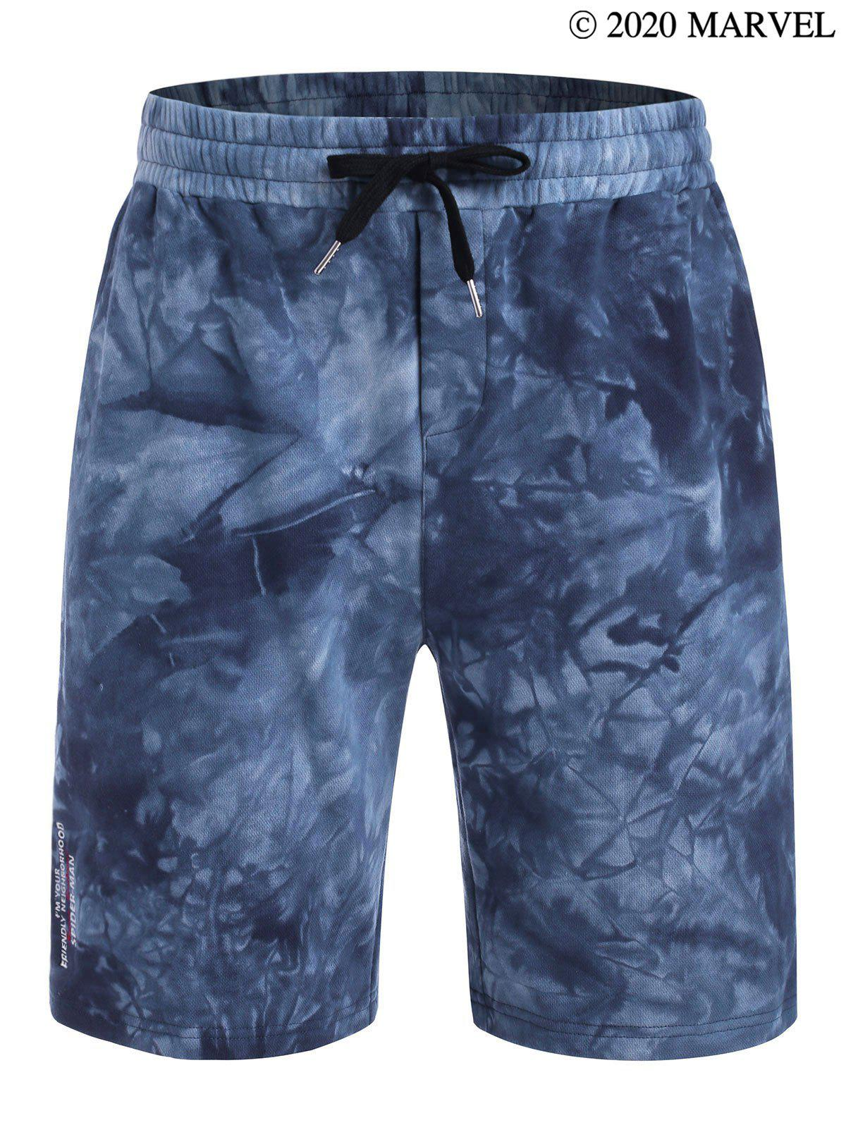 Marvel Spider-Man Tie Dye Print Letter Embroidered Sweat Shorts - OCEAN BLUE L