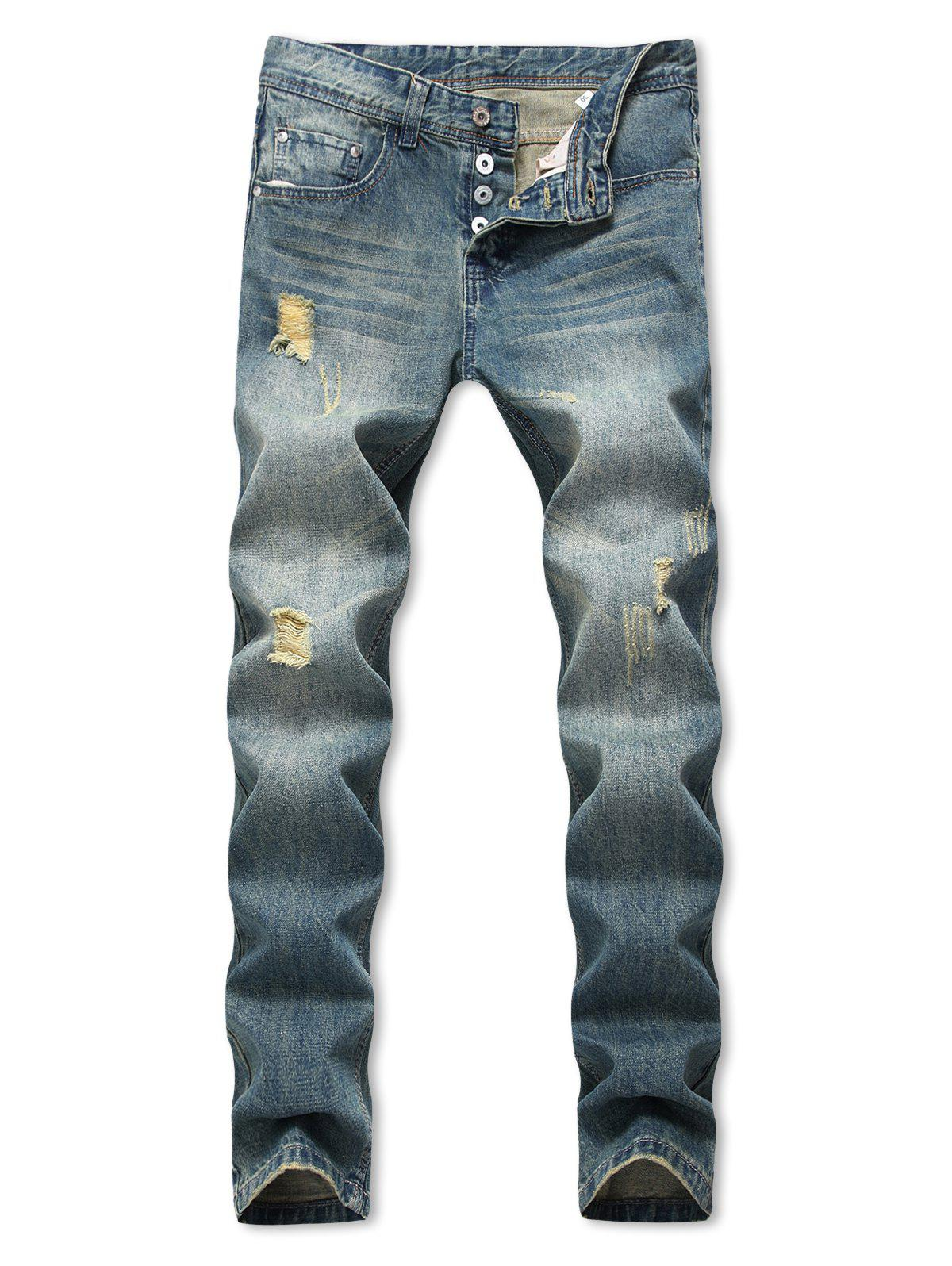 Distressed Destroy Wash Straight Long Jeans - BLUE 36