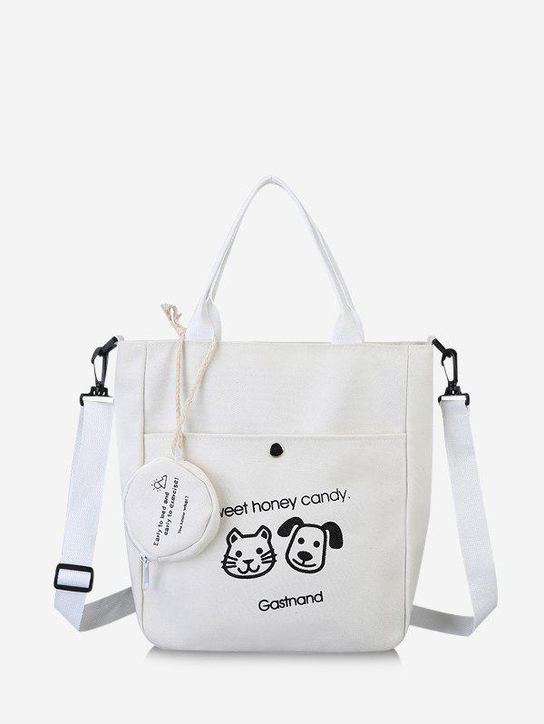 Cute Animal Graphic Canvas Top Handle Shoulder Bag - WHITE