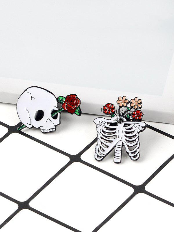 2Pcs Halloween Skull Skeleton Flower Brooch Set - WHITE