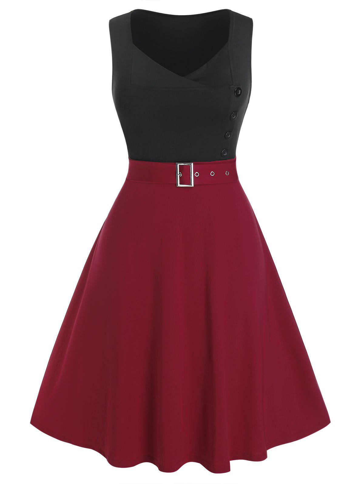 Plus Size Two Tone Bicolor Eyelet Buckle A Line Dress - RED WINE 2X