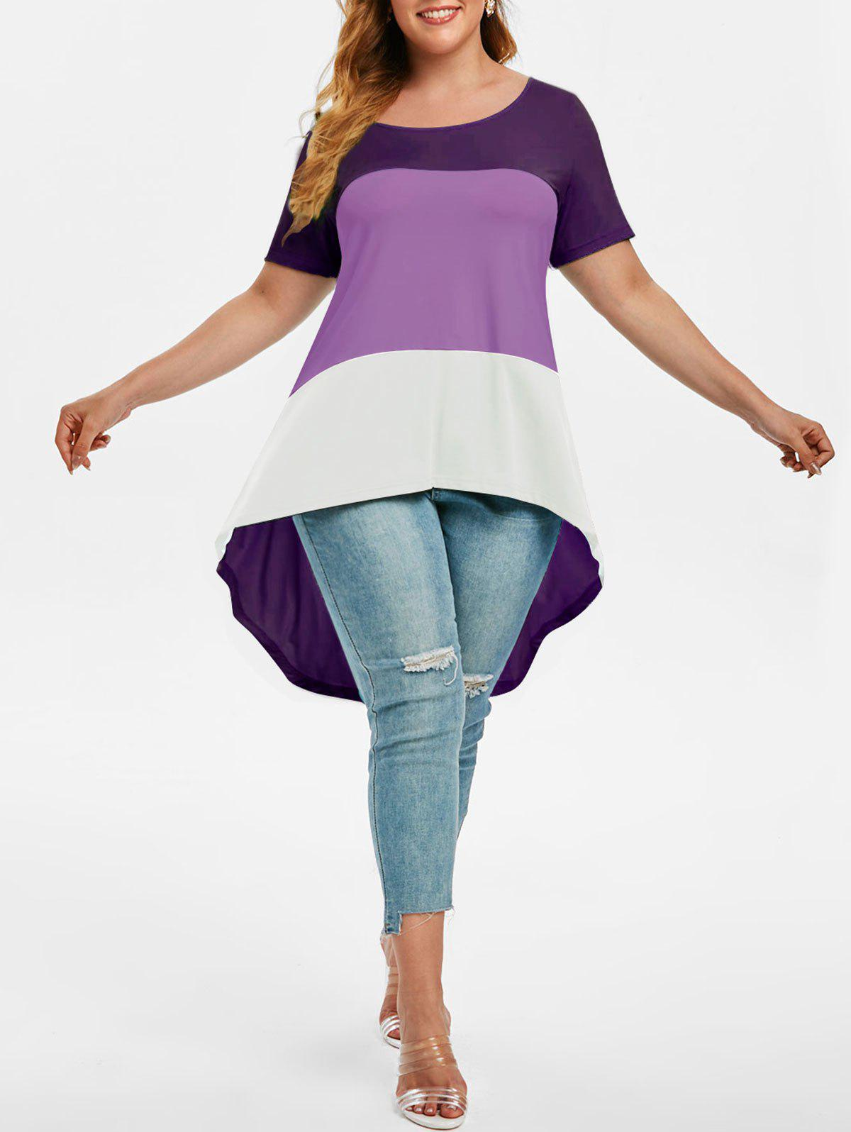 Plus Size Colorblock High Low T Shirt - PURPLE 5X