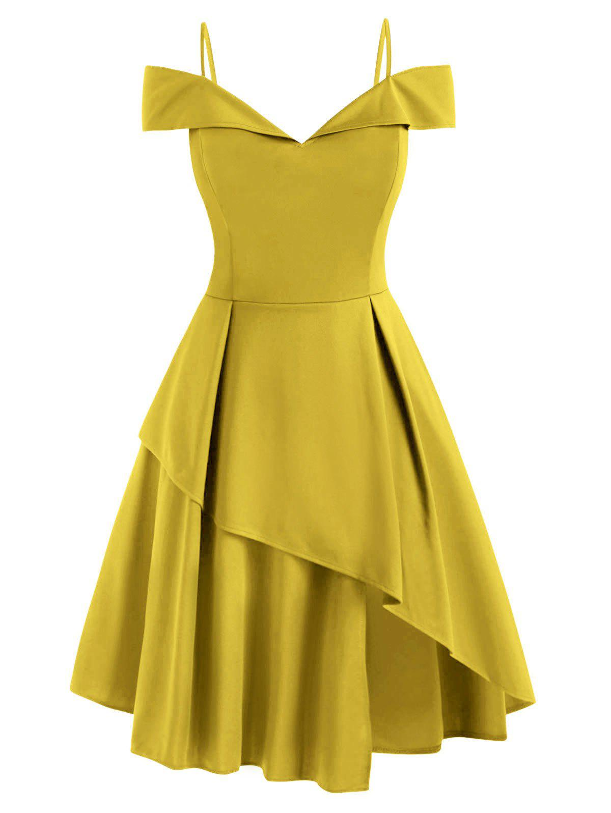 Plus Size Cold Shoulder Layered Prom Dress - YELLOW 4XL