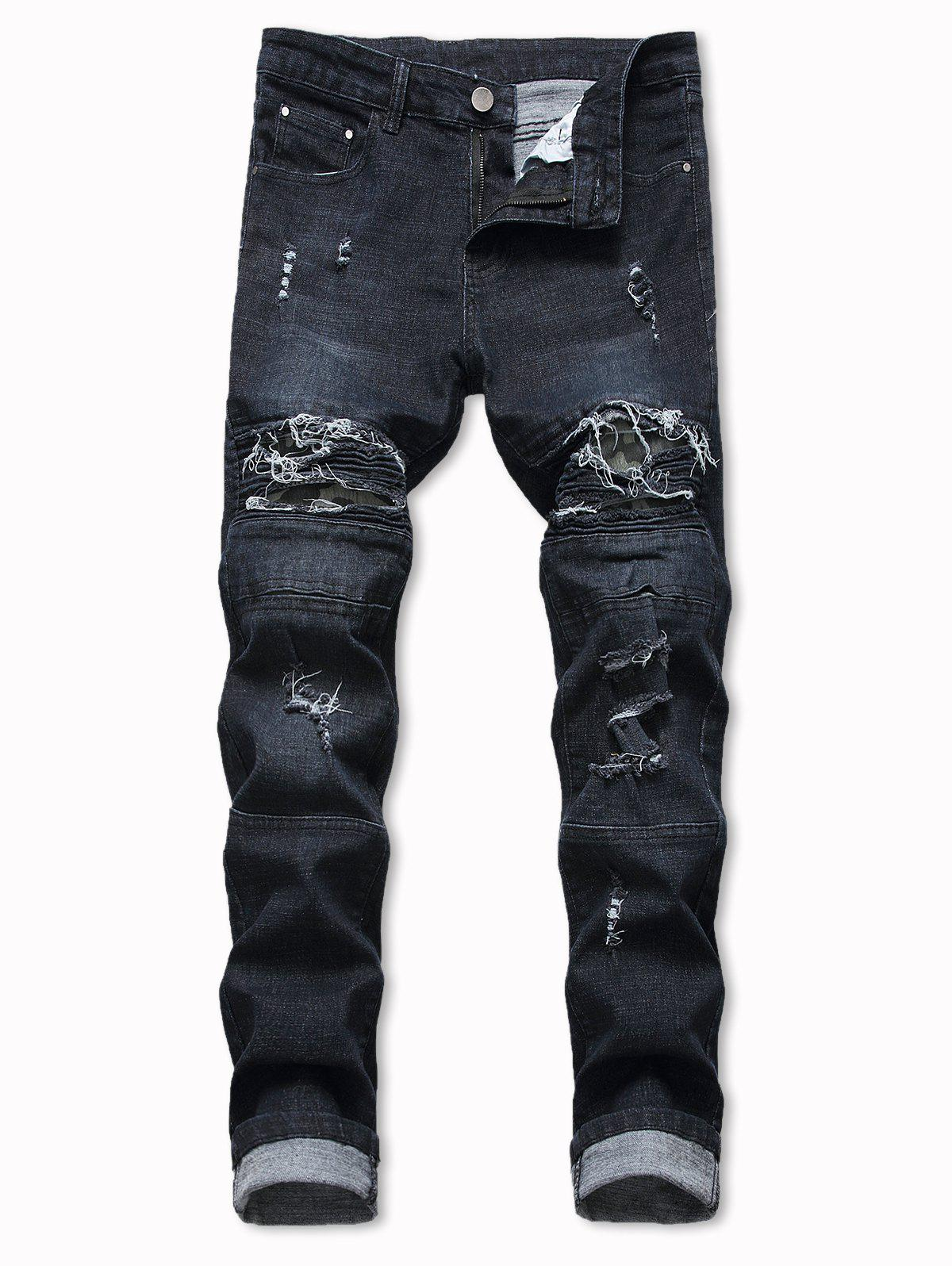 Distressed Destroy Wash Bike Jeans - BLACK 36