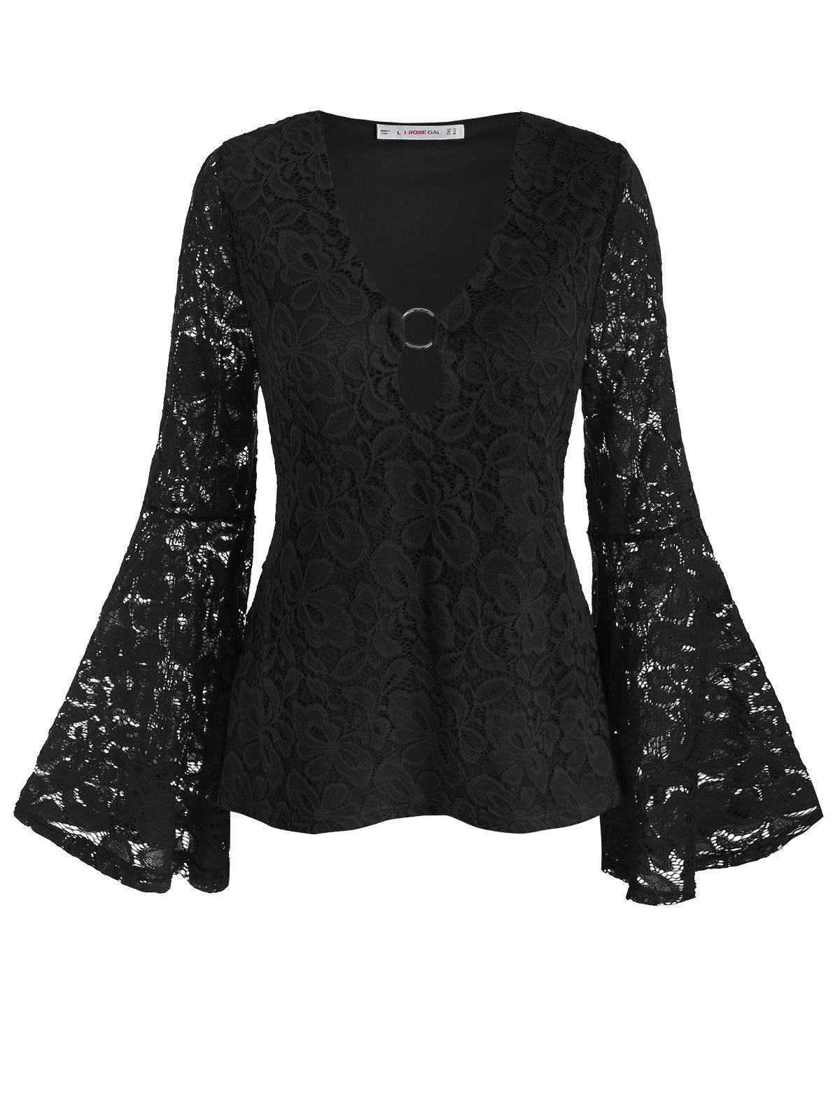Plus Size O Ring Bell Sleeve Lace Blouse - BLACK 5X