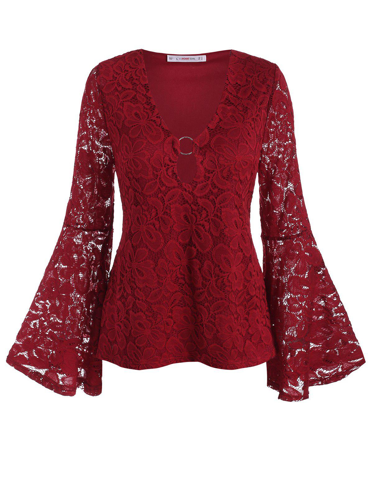 Plus Size O Ring Bell Sleeve Lace Blouse - DEEP RED 5X