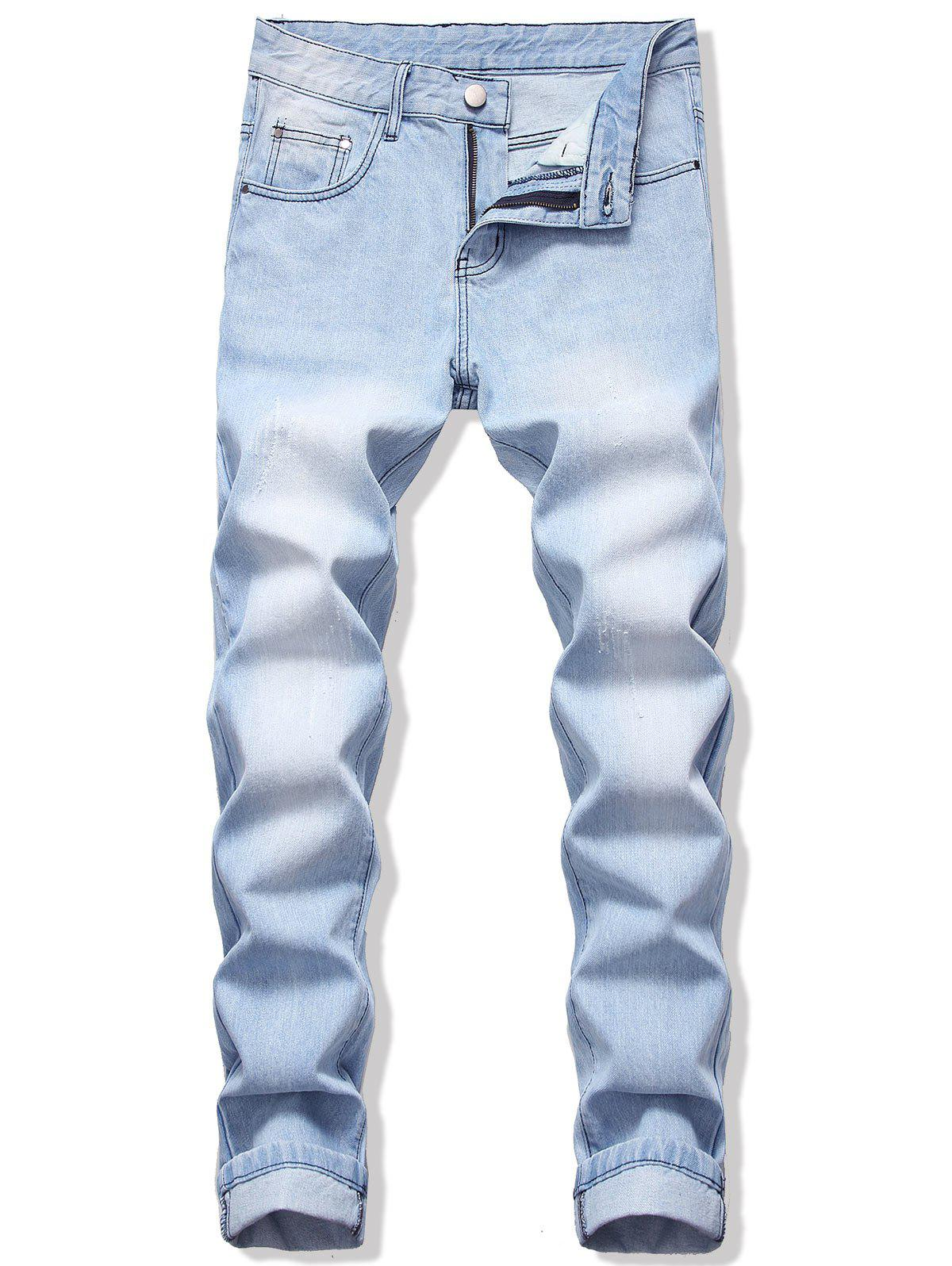 Long Straight Scratch Casual Jeans - LIGHT BLUE 32
