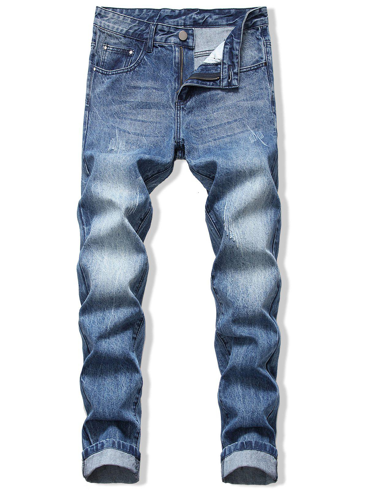 Long Straight Scratch Casual Jeans - DEEP BLUE 38