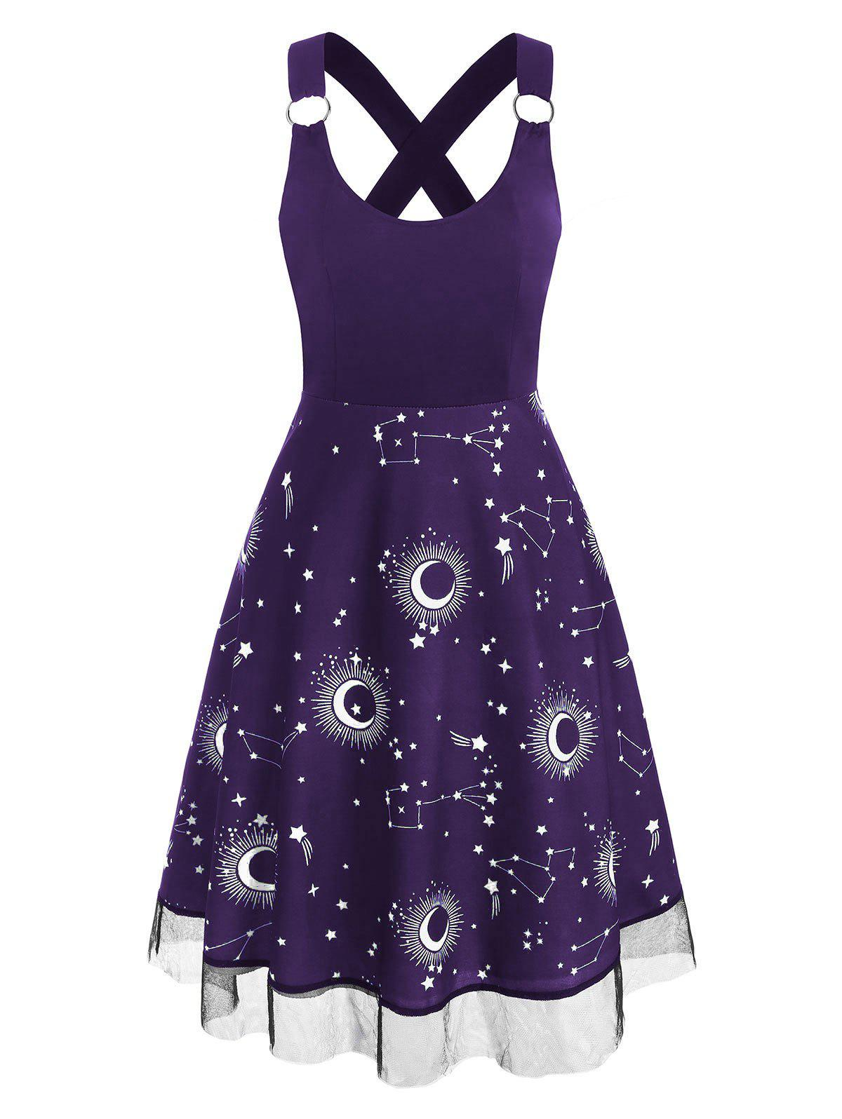 Sun Moon Star Print Lace Insert Criss Cross Dress - PURPLE 2XL