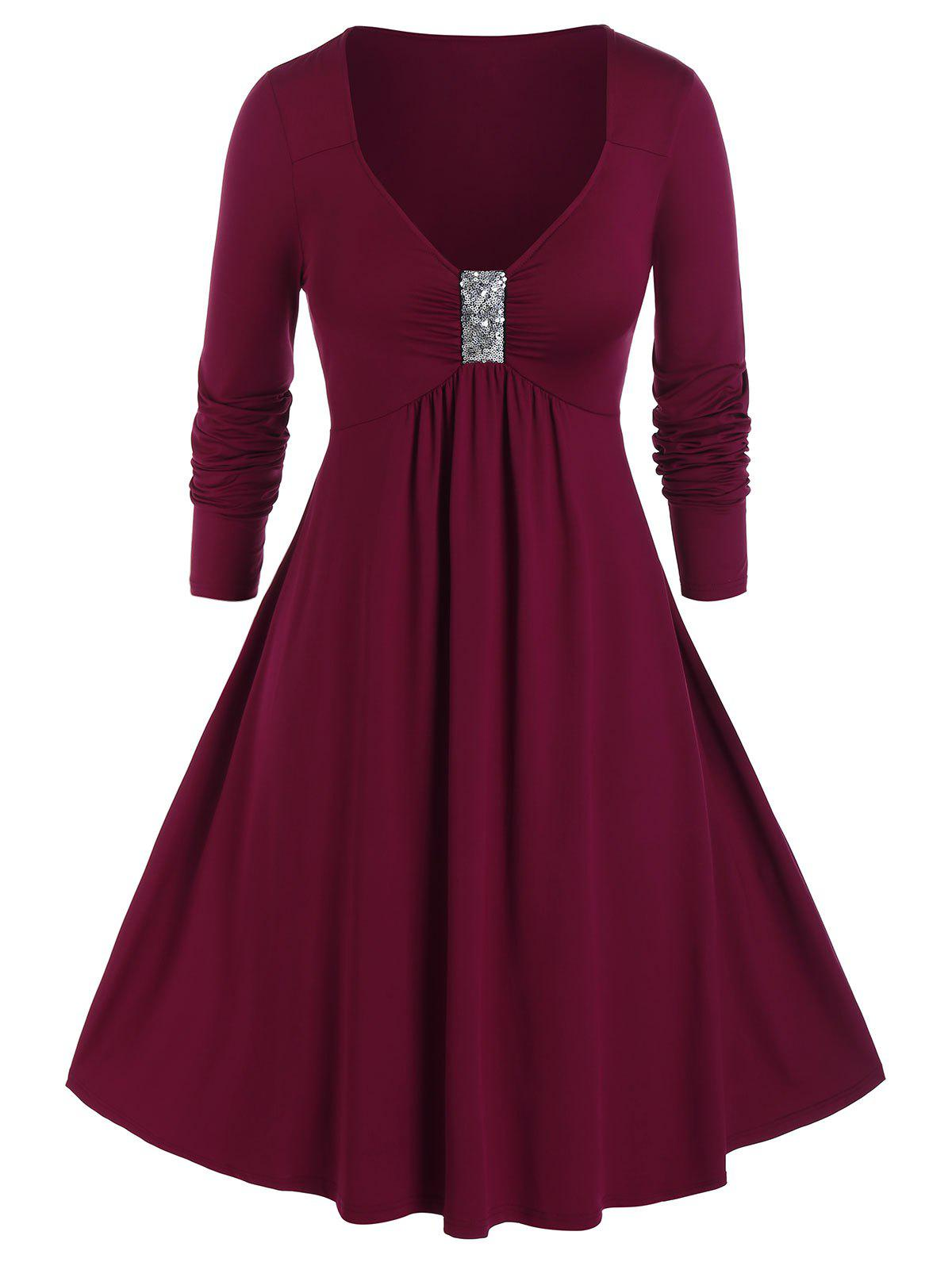 Plus Size Sequined Ruched Long Sleeve Midi Dress - RED WINE 2X