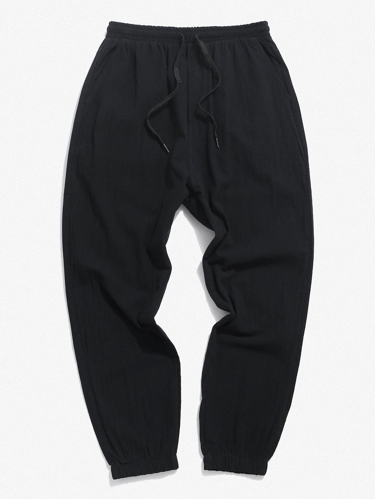 Pure Color Drawstring Beam Feet Pants - BLACK M
