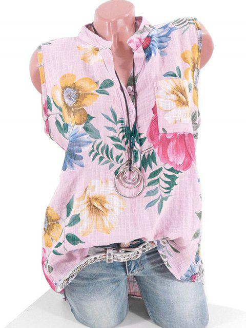 Plus Size Half Button Floral Print Pocket Shirt