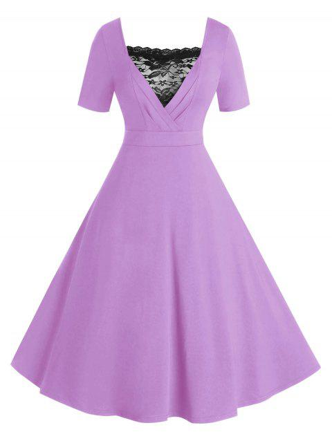 Plus Size High Waisted Fit and Flare Dress with Lace