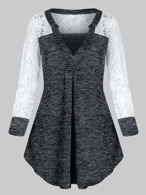 V Neck Lace Sleeve Knitted Longline T Shirt