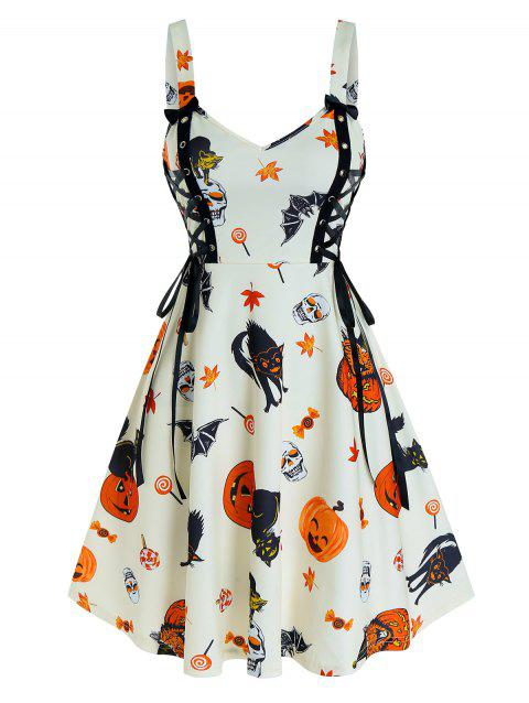 Halloween Pumpkin Print Lace Up Cami A Line Dress