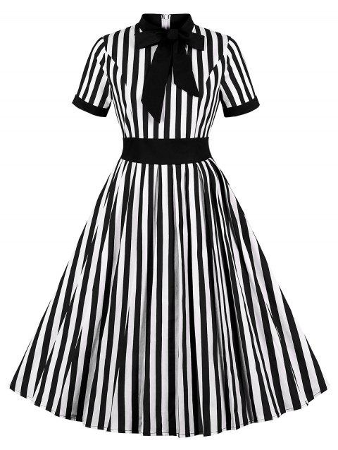 Striped Print Tie Knot Vintage Flare Dress